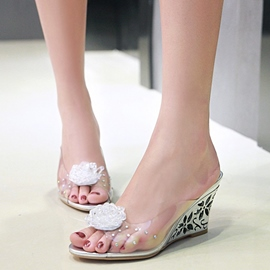 Ericdress Transparent Flower Decorated Wedge Heel Mules Shoes