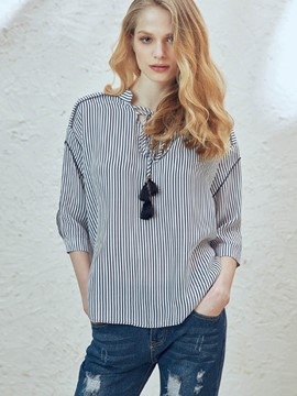 Ericdress Loose Lace-Up Stripped Blouse