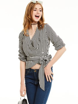 Ericdress Slim V-Neck Lace-Up Stripe Blouse