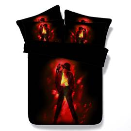Male Dancer with Hat Printed Cotton 3D 4-Piece Bedding Sets/Duvet Covers