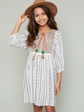 Ericdress Print Embroidery 3/4 Length Sleeves Girls Dress