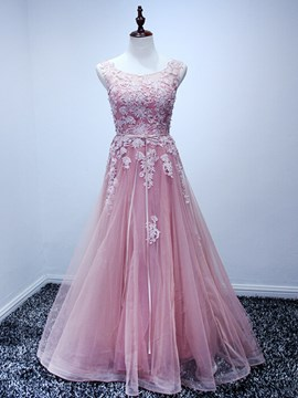 Ericdress A Line Scoop Neck Applique Long Prom Dress With Lace-Up Back