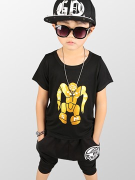 Ericdress Robot Printed T-Shirt Harem Pants Casual Boys Outfit