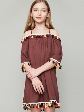 Ericdress Tassel Slash Neck Half Sleeves Spring Dress