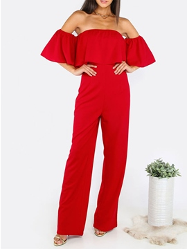 Ericdress Falbala Boat Neck Pure Color Women's Jumpsuits
