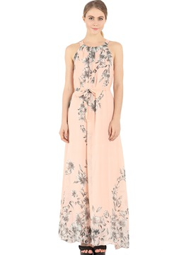 Ericdress Vintage Halter Floral Belt Maxi Dress
