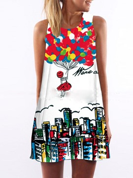 Ericdress Cartoon Print Sleeveless Above Knee A Line Dress