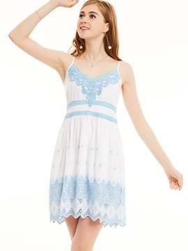 Ericdress Spaghetti Strap Lace Patchwork A-Line Dress