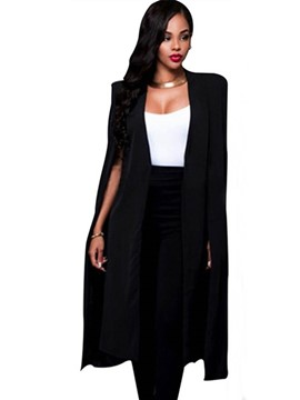 Ericdress Plain Irregular Wrapped Long Blazer