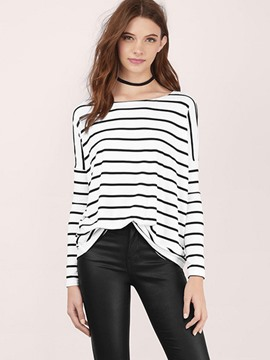 Ericdress Loose Stripe Long Sleeve T-Shirt