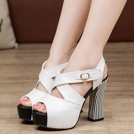 Ericdress PU Cross Strap Platform Chunky Sandals