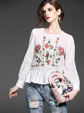 Ericdress Floral Embroidery Pelplum Blouse