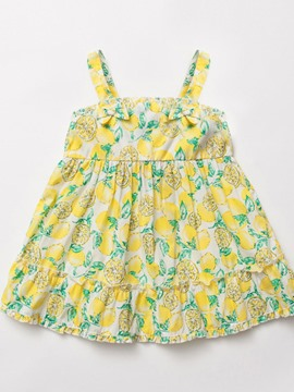 Ericdress Lemon Printed Spaghetti Strap Bowknot Baby Girls Dress