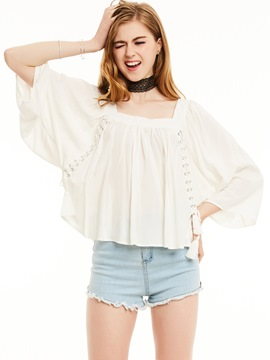 Ericdress Square Neck Batwing Sleeve Tassel Lace-Up Blouse
