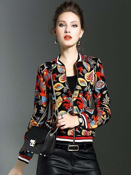Ericdress Printed Baseball Stylish Jacket