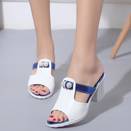 Ericdress Charming Patchwork Peep Toe Mules Shoes