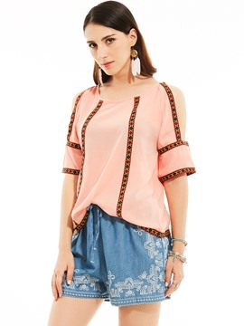Ericdress Loose Round Neck Cold Shoulder Embroidery Patchwork Blouse
