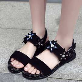 Ericdress Suede Rhinestone Open Toe Flat Sandals