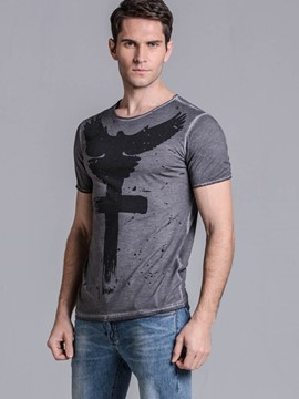 Ericdress Basic Print Short Sleeve Casual Slim Men's T-Shirt