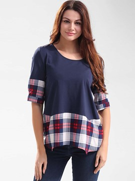 Ericdress Half Sleeve Plaid Patchwork T-Shirt