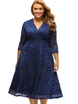 Ericdress Deep V-Neck 3/4 Length Sleeves Plus Size Lace Dress