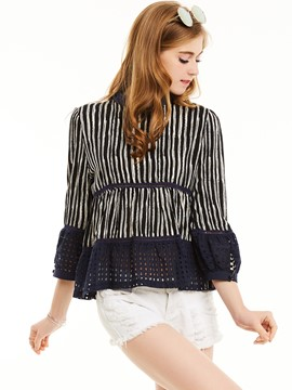 Ericdress Stand Collar Stripe Hollow Falbala Patchwork Blouse
