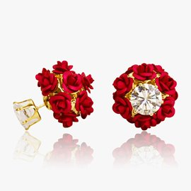Ericdress Zircon Mosaic Red Rose Beading Stud Earrings