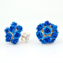 Ericdress Full Blue Rose Decorated Stud Earrings