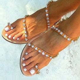 Ericdress Toe Ring strass sandales plates