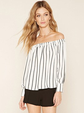 Ericdress Casual Stripped Off-Shoulder Blouse