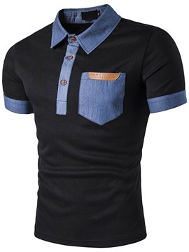 Ericdress Color Block Patched Polo Casual Men's T-Shirt