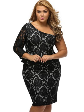 Ericdress One-Shoulder Side Zipper Plus Size Bodycon Dress