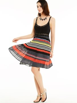 Ericdress Spaghetti Strap Backless Strip Patchwork Casual Dress