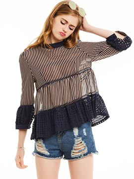 Ericdress Stand Collar Stripe Falbala Patchwork Blouse