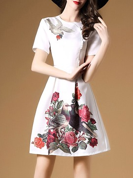 Ericdress Print Bead Patchwork A Line Dress