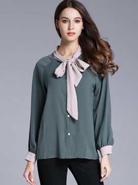 Ericdress Bow Tie Front OL Blouse