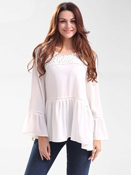Ericdress Pelplum Bell Sleeve White Blouse