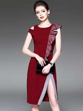 Ericdress Asymmetric Patchwork Split Sheath Dress