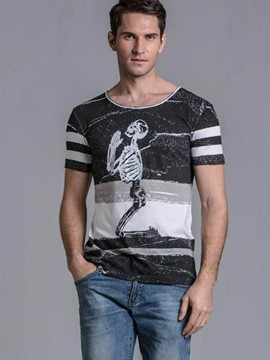 Ericdress Cotton Blends Unique Skeleton Print Men's T-Shirt
