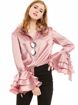 Ericdress Elegant Solid Color Trumpet Velvet Blouse