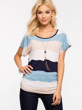 Ericdress Stripe Color Block Short Sleeve T-Shirt