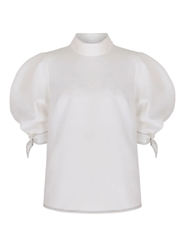 Ericdress Turtle Neck Puff Sleeve White Blouse