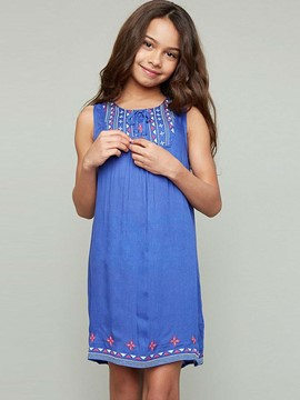 Ericdress Ethnic Embroidery Sleeveless Girls Dress