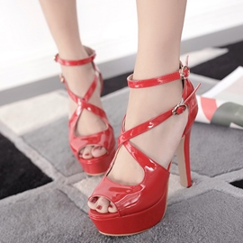Ericdress Patent Leather Cross Strap Platform Stiletto Sandals