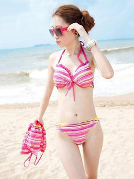 Ericdress Colorful Stripe Three Piece Suit Bikini Set