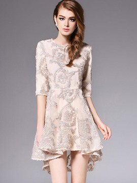 Ericdress Half Sleeve Embroidery Asymmetric A Line Dress