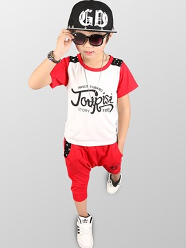 Ericdress 95% Cotton Letter Pocket 2-Pcs Summer Boys Suit