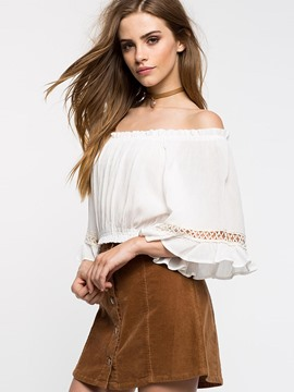 Ericdress Solid Color Off-Shoulder Hollow Frill Blouse
