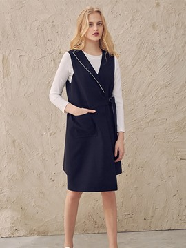 Ericdress Solid Color Lapel Belt Vest