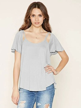 Ericdress Plain Backless Short Sleeve T-Shirt